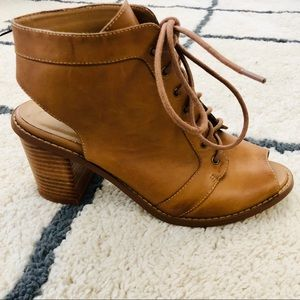 Chinese laundry lace up open toe booties 9.5